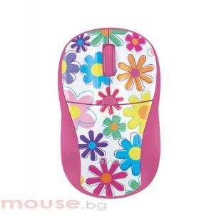 Мишка TRUST Primo безжична - розова/шарена