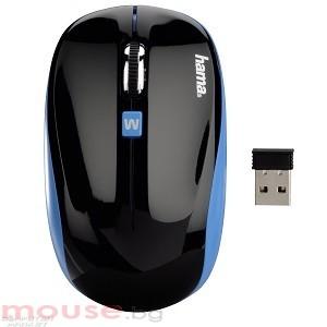 Мишка HAMA GMBH безжична оптична AM-7600 USB, чернo-синя