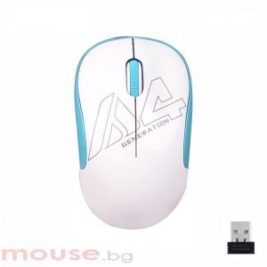Оптична мишка A4tech G3-300N V-Track, USB, Бял/Син