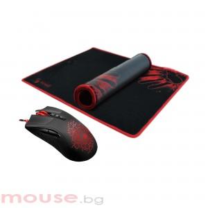 Геймърски комплект A4TECH Bloody, A90 + B081, Оптична, Жична, USB мишка + пад
