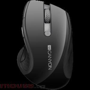 Мишка CANYON Безжичен, Оптичен, 1600dpi</br>1000dpi, blue LED, 6 buttons, DPI 1000/1200/1600, Black pearl glossy