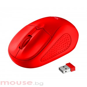 Мишка TRUST Primo безжична червен