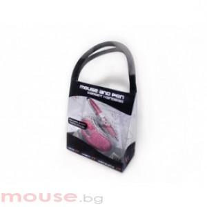 Мишка SATZUMA pink USB + химикал диамант