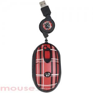 Мишка G-CUBE оптична мини с прибиращ се кабел-червена- Mad for Plaid
