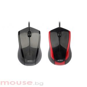Мишка A4Tech N-400-2 V-Track PADLESS, черна с червено, USB