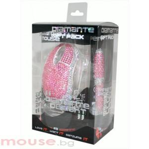 Мишка SATZUMA с подарък  химикал диамант USB