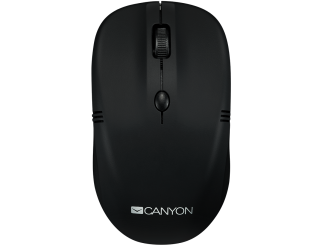 Мишка CANYON Безжичен, 4 buttons, DPI 800/1200/1600, rubber coating black