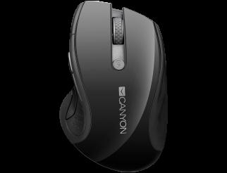 Мишка CANYON Безжичен, Оптичен, 1600dpi1000dpi, blue LED, 6 buttons, DPI 1000/1200/1600, Black pearl glossy