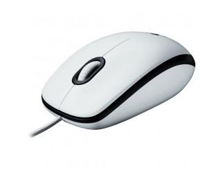 Мишка LOGITECH M100 – EWR2 кабел, оптичен, бял