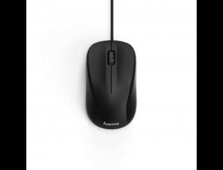 Оптична мишка HAMA MC-300, безшумна, кабел 1.8 м, USB, 1200 dpi, 3 бутона, Черен